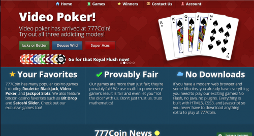 777Coin casino screenshot 1