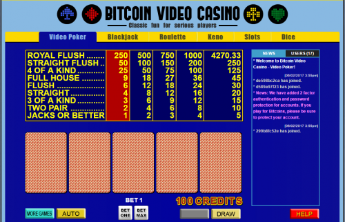 Bitcoin Video Casino casino screenshot 1