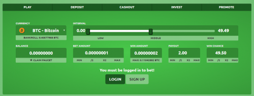 CRYPTOSDICE casino screenshot 1