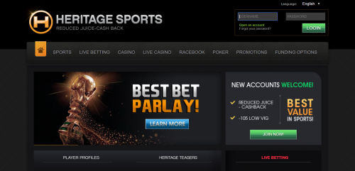 Heritage Sports casino screenshot 1