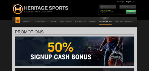 Heritage Sports casino screenshot 3