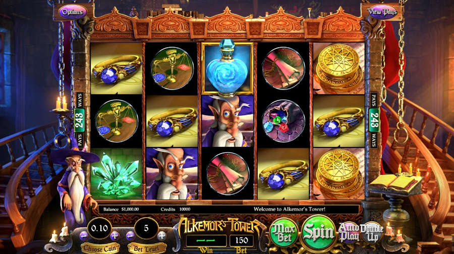 alkemor's tower bitcoin slot game