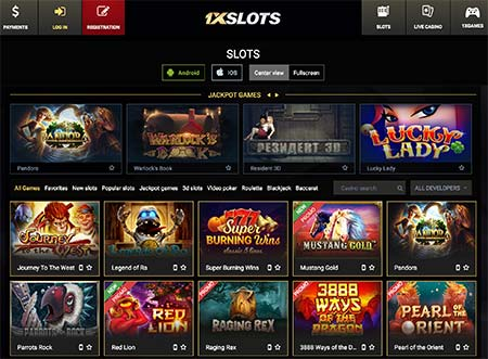 1xSlot casino screenshot 1