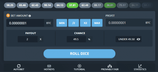 Bitsler's dice interface