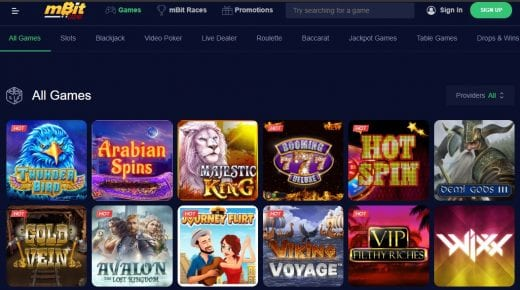 mbit casino game selection