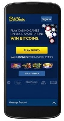 mobile view of Betchain