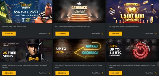 Example set of promotions at FortuneJack
