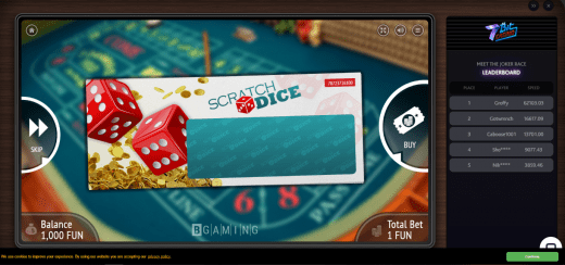 scratch dice intro screen