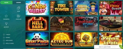 22Bet casino game selection