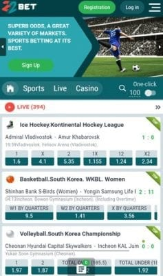 22Bet on mobile