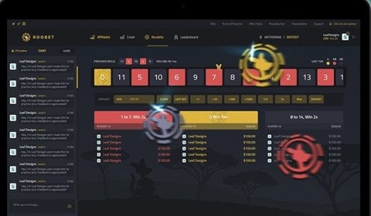 roobet roulette game interface
